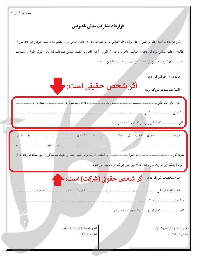 نمونه قرارداد مشارکت باشگاه ورزشی