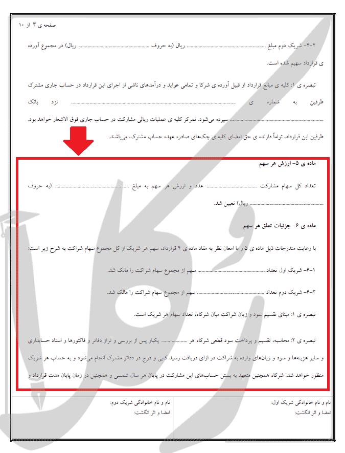 متن قرارداد مشارکت مالی